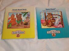 2 Vintage Teddy Ruxpin Books 1986 Quiet Please and Grundo Beach Party
