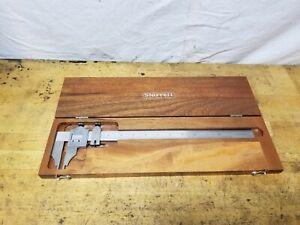 """Starrett 12"""" Vernier Caliper No 122 Wood Case Excellent"""