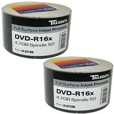 100 PACK TRAXDATA DVD-R 16X SPEED FULL FACE INKJET PRINTABLE 4.75GB BLANK DISCS