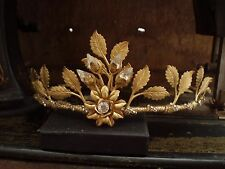 Vintage Jewellery Antique Matt Gold Leaves with Clear Crystal Tiara