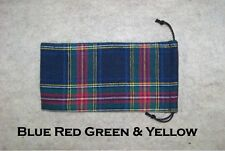 Pipe Sock Plaid Flannel Drawstring Bag Blue Red Green  & Yellow #7