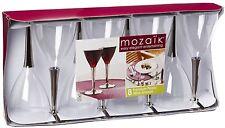 Mozaik 8 Wine Glasses Set Premium Plastic Silver Stemmed Parties Party Wedding