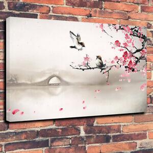 Japanese Scene, Birds Flowers Cherry Blossom Canvas Picture Multiple Sizes