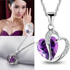 Elegante Amor&Corazón Cristal Plateado Pendiente Collar Colgante Mujer 3Colores