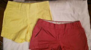 J Crew Womens Chino Shorts Yellow Red sz 0  Lot of 2   X-18