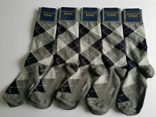 NEW Polo Ralph Lauren Men's 5 pack Socks Dress Argyle Crew size small Grey/black
