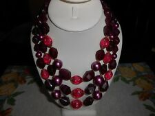 Plum Bead Necklace Western Germany Fuchsia and