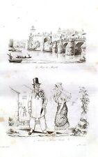 PHILIPPINES - MANILA PASIG BRIDGE - COSTUMES  Original 1835 Antique Print