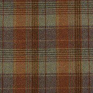 Abraham Moon Huntingtower Rust |100% Wool Upholstery Curtain Check Tartan Fabric