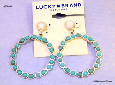 Lucky Brand Silver Tone Turquoise & White Stone Drop Hoop Earrings $35 NEW