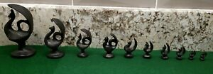 Antique Thai Bronze Peafowl Peacock Shaped Opium Scale Weights 1g-500g Set of 10