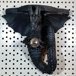DRAGONS SPELL, BLACK DRAGON GALATIA SHELF Figure Statue Fantasy Gothic Dragon