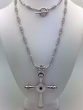 """925 Sterling Silver Natural Blue Sapphire Royal Crown Cross Pendant Necklace 24"""""""