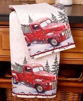 NOSTALGIC VINTAGE KITCHEN RED PICKUP TRUCK DESIGN 2-PC TOWEL SET HOLIDAY DECOR