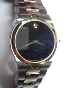 Vintage Large Movado Stainless Steel with gold accents Quartz Wristwatch  ww-174