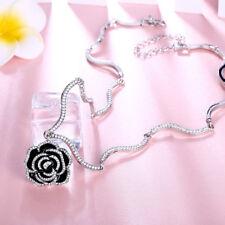 Elegant 18k 18CT White Gold Black Camellia CZ Pendant Necklace N-A731