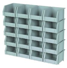 20 Piece Poly Bins and Rails For Storing Nut Bolt Washer Household Items.