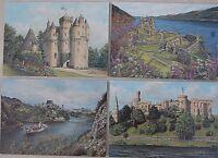 POSTCARDS Set of 4 unused Scotland Castles Landscape Outlander History Paintings