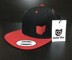 OHIO STATE - CLOTHE OHIO - HAT CAP SNAPBACK NEW BLACK/RED FLAT BILL