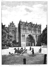 Neubrandenburg, parc porte, Original-Gravure sur Bois 1890