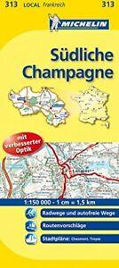Michelin Südliche Champagne: Straßen- und Tourismuskarte 1:150.000