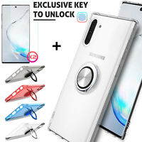 For Samsung Galaxy Note 10+ Plus Case Ring Holder Clear Cover + Screen Protector