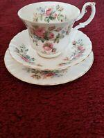 Royal Albert Moss Rose Trio Vintage English Bone China Tea Cup Saucer Side Plate