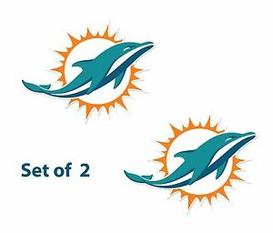 """Set of 2  Miami Dolphins  Cornhole Board Decals NEW """"17 x 12"""" Large"""