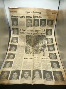 US Olympic Hockey Team wins GOLD 2/25/1980 Chicago Tribune Only Front Page