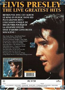 Elvis Presley Plan Média Live Greatest Hits France Paper Presskit Promo Advert