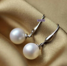 Beautiful 18K White Gold Plated Silver Filled 10mm Shell Pearl Earrings EP9