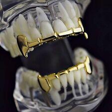 Full Fang Grillz Set Slim Grill 14k Gold Plated Dracula Half Teeth Vampire Fangs
