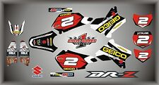 Suzuki DRZ400 DRZ 400  SEMI CUSTOM GRAPHICS KIT GEICO BLACK