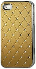 Diamond Leather Case Protector Cover for iPhone 4/4S - Gold