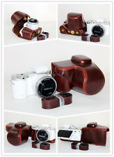 Dark brown leather case bag for Samsung NX500 camera 16-50mm kit lens coffee