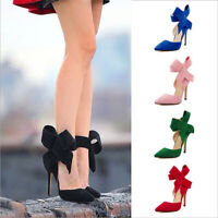 Stilettos High UK Size BLOCK  POINTED TOE Shoes WOMENS Heels LADIES ANKLE STRAP