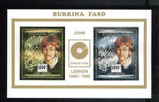 John Lennon Commemorative Gold & Silver Single Souvenir Stamp Sheet Burkina E51