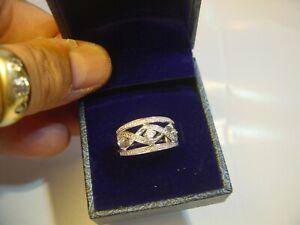 SUPERB SOLID SILVER CHUNKY RING-SPARKLY ILLUSION SET TINY DIAMONDS QUALITY-SIZ K