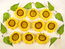 10 Yellow Sunflower Heads with Leaves - Large Artificial Sunflower Heads