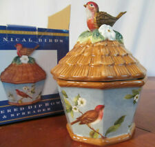 Susan Winget Botanical Birds Covered Dip Bowl and Spreader Set In Box