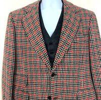 Vtg 70s Montague Fox Mens Blazer Waistcoat Gray Red Houndstooth Plaid Jacket L