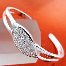 BANGLE BRACELET GENUINE REAL 925 STERLING SILVER S/F DIAMOND SIMULATED DESIGN