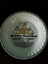 "Vintage 1983 Royal China Co. Quiche Lorraine Recipe 10"" Baking Dish"