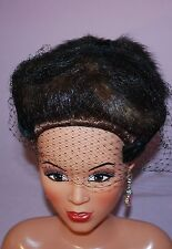 Vintage ladies 60's real mink dress hat with mesh front