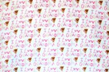 """'I LOVE GRANDMA' IN PINK/PURPLE ON WHITE COTTON FLANNEL MATERIAL 42 x 72"""" 2YDS"""
