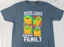 Teenage Mutant Ninja Turtles Good Looks Run in my Family Blue Heather T-Shirt