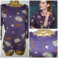 NEW WHITE STUFF LADIES FABLE TOP TUNIC BLOUSE PURPLE CREAM BROWN FLORAL 8 - 12