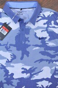 NWT Nike Golf Performance Polo Shirt Blue Camo St. Albans Men's Large L