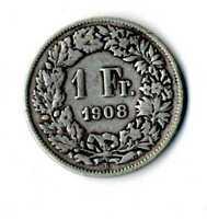 Moneda Suiza 1908 B 1 franco suizos plata .835 silver coin Helvetia