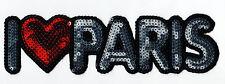 """Sequin Patch: Simple I """"Heart"""" Paris"""